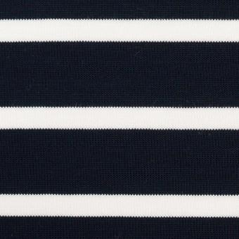 コットン×ボーダー(ダークネイビー&ホワイト)×天竺ニット サムネイル1