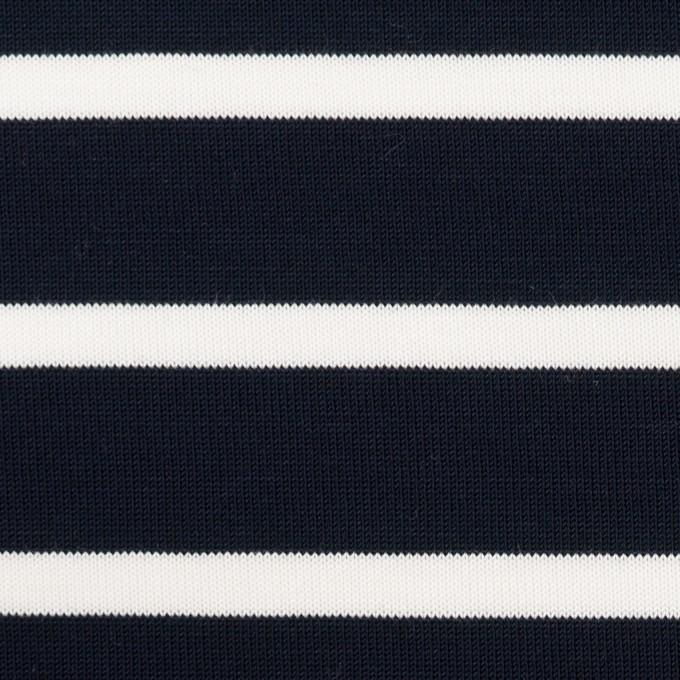 コットン×ボーダー(ダークネイビー&ホワイト)×天竺ニット イメージ1