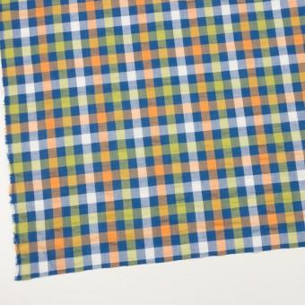 コットン&ポリエステル×チェック(オレンジ、ライムグリーン&ネイビー)×サッカー_全2色 サムネイル2
