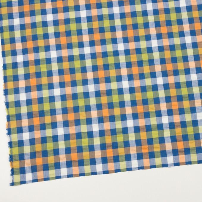 コットン&ポリエステル×チェック(オレンジ、ライムグリーン&ネイビー)×サッカー_全2色 イメージ2