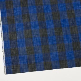 コットン&リネン×チェック(マリンブルー&ブラック)×スラブボイル サムネイル2