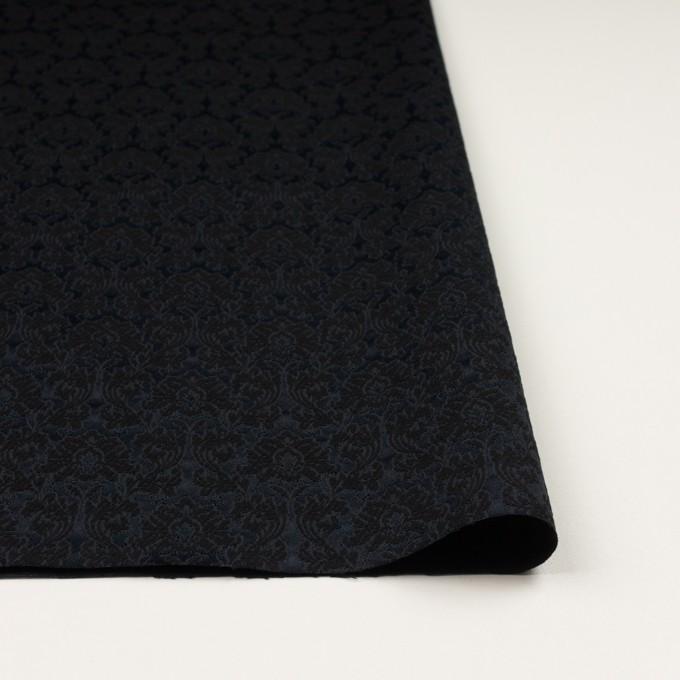 コットン&ポリエステル×幾何学模様(ブラック)×サテンジャガード_全4色 イメージ3