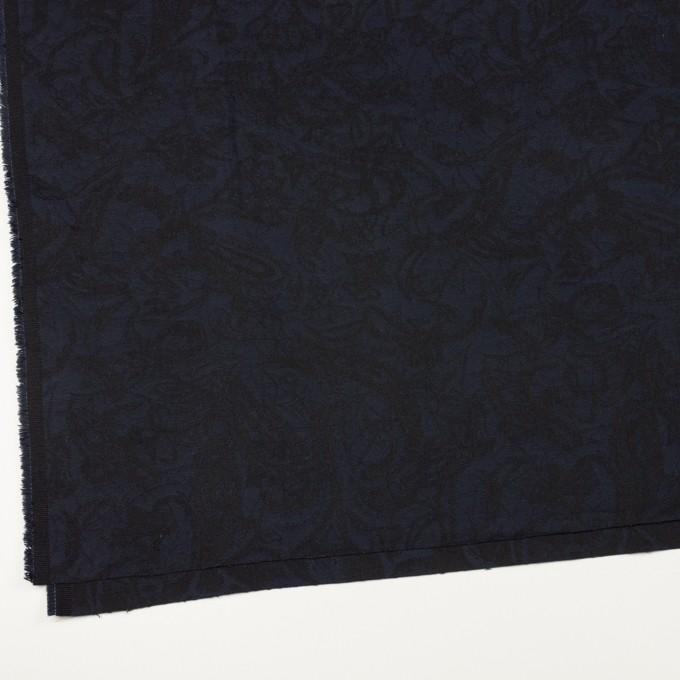 コットン&ポリウレタン×幾何学模様(ネイビー&ブラック)×ジャガード・ストレッチ イメージ2