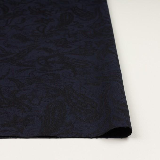コットン&ポリウレタン×幾何学模様(ネイビー&ブラック)×ジャガード・ストレッチ イメージ3