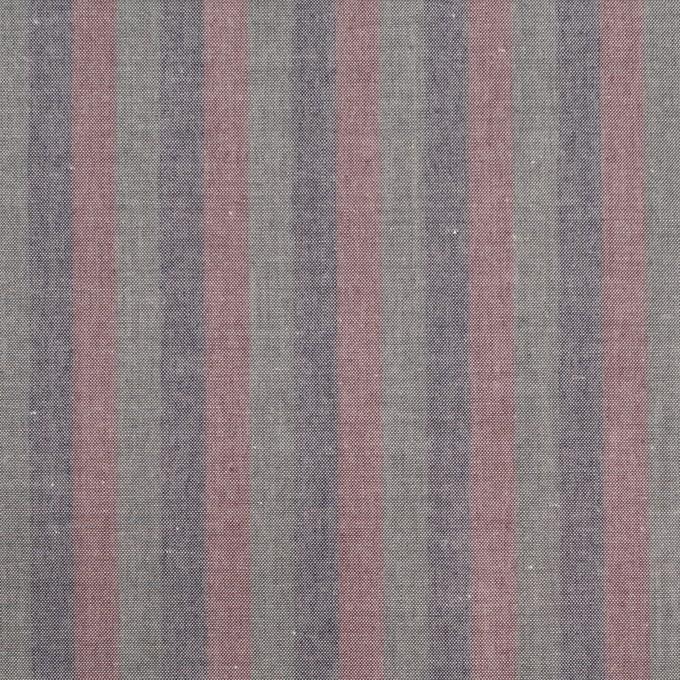 コットン×ストライプ(グレイッシュピンク、アッシュネイビー&モスグレー)×ローン イメージ1