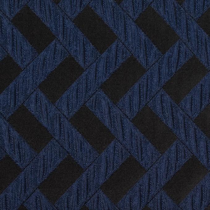 ポリエステル×幾何学模様(プルシアンブルー&ブラック)×フクレジャガード イメージ1