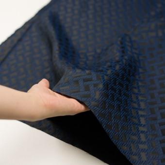 ポリエステル×幾何学模様(プルシアンブルー&ブラック)×フクレジャガード サムネイル5