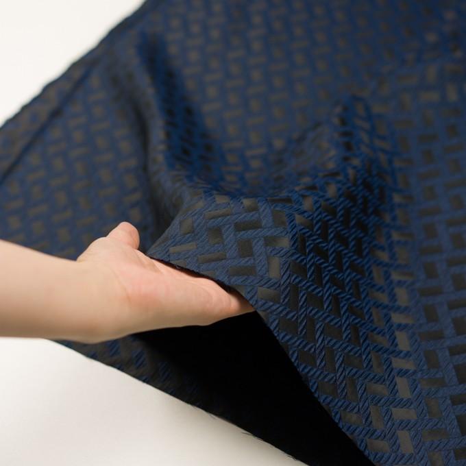 ポリエステル×幾何学模様(プルシアンブルー&ブラック)×フクレジャガード イメージ5