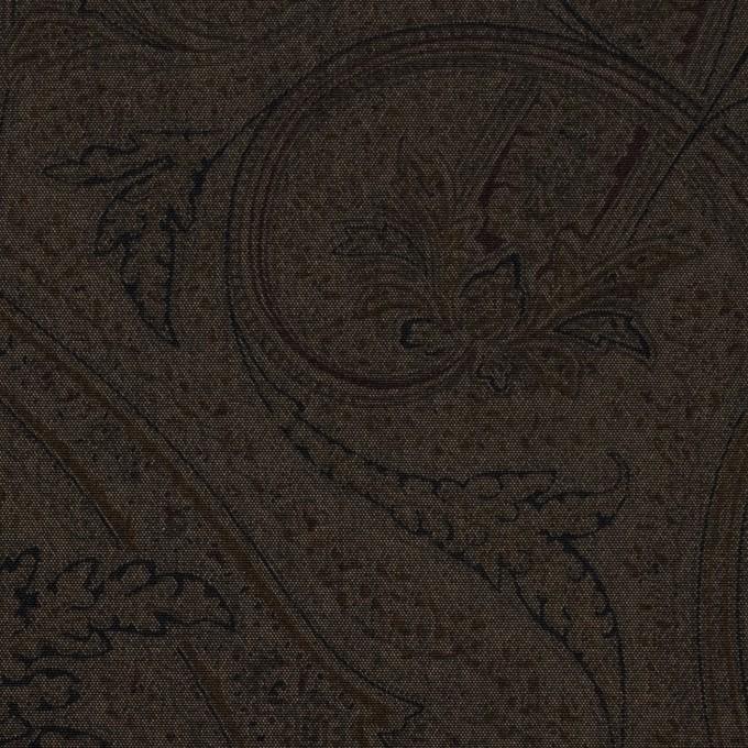 ポリエステル&キュプラ×ペイズリー(カーキブラウン)×ポプリン イメージ1