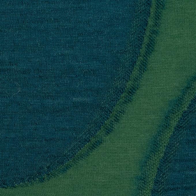 ウール&コットン×サークル(グリーン&バルビゾン)×天竺ジャガードニット イメージ1