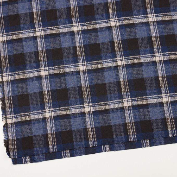 コットン×チェック(マリンブルー&ダークブラウン)×ヘリンボーン イメージ2