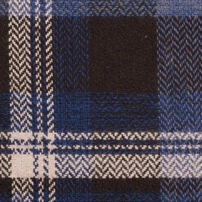 コットン×チェック(マリンブルー&ダークブラウン)×ヘリンボーン イメージ1