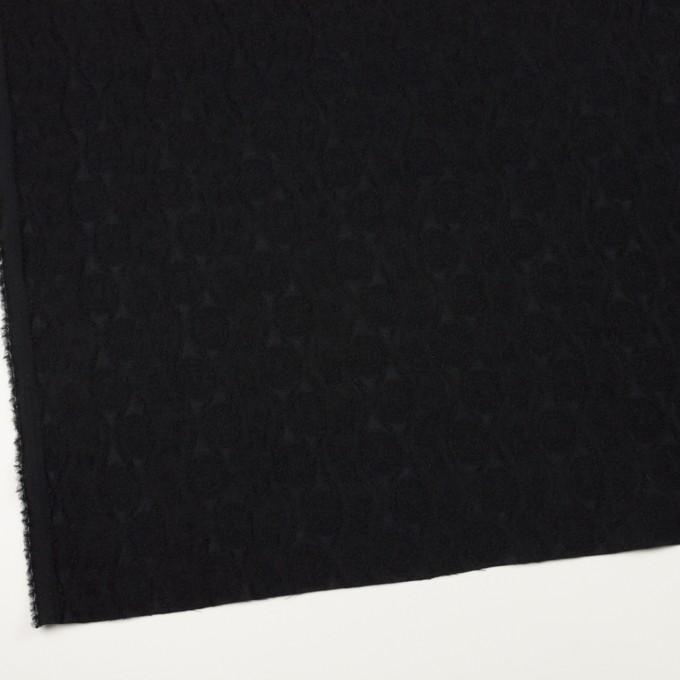 ウール&レーヨン×幾何学模様(ブラック)×ジャガード_全3色 イメージ2