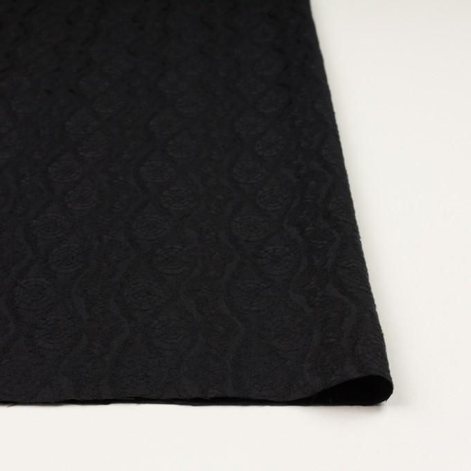 ウール&レーヨン×幾何学模様(ブラック)×ジャガード_全3色 イメージ3