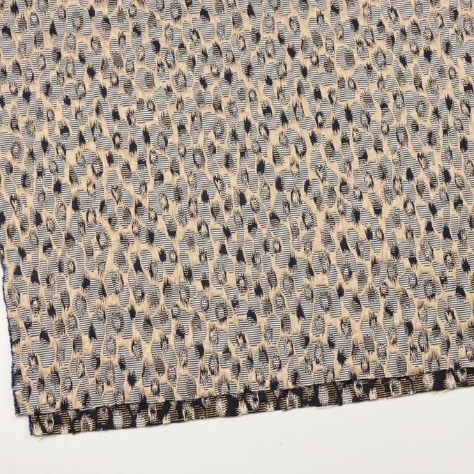 ポリエステル&アクリル混×幾何学模様(ゴールド&ブラック)×フクレジャガード_フランス製 イメージ2