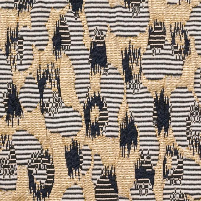 ポリエステル&アクリル混×幾何学模様(ゴールド&ブラック)×フクレジャガード_フランス製 イメージ1