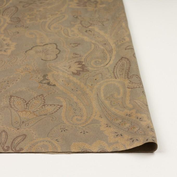 ポリエステル×ペイズリー(カーキ&ゴールド)×スエードかわり織 イメージ3