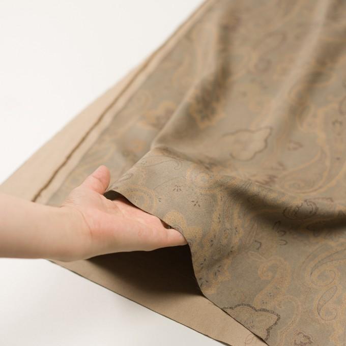 ポリエステル×ペイズリー(カーキ&ゴールド)×スエードかわり織 イメージ5