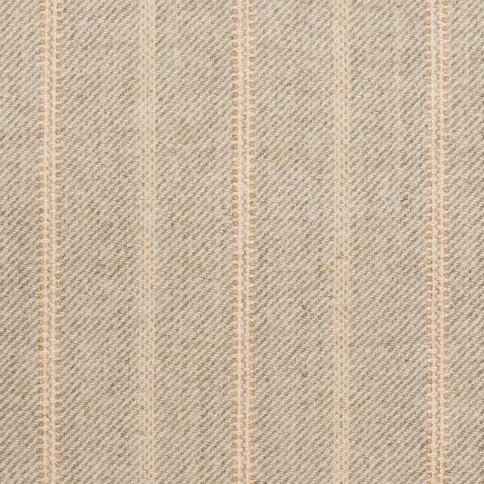 ウール&ポリウレタン混×ストライプ(グレイッシュベージュ)×サージジャガード・ストレッチ イメージ1