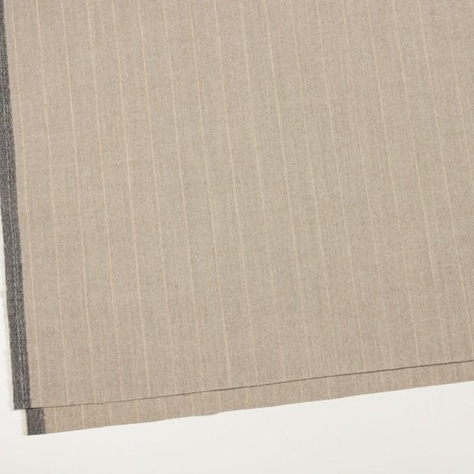 ウール&ナイロン混×ストライプ(グレイッシュベージュ)×ヘリンボーン・ストレッチ イメージ2