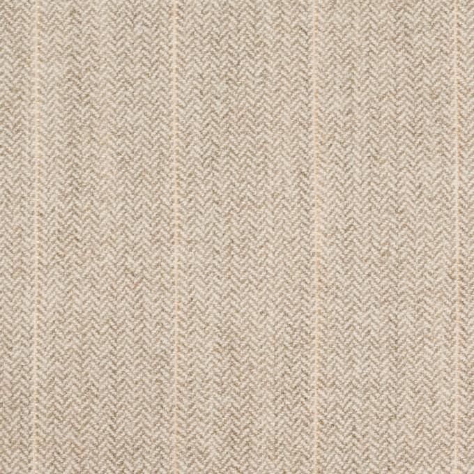 ウール&ナイロン混×ストライプ(グレイッシュベージュ)×ヘリンボーン・ストレッチ イメージ1