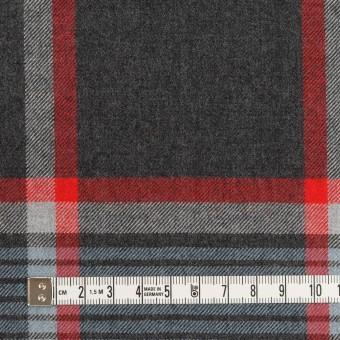 ウール×チェック(チャコールグレー、ブルーグレー&レッド)×サージ_全2色 サムネイル4