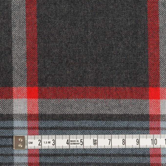 ウール×チェック(チャコールグレー、ブルーグレー&レッド)×サージ_全2色 イメージ4