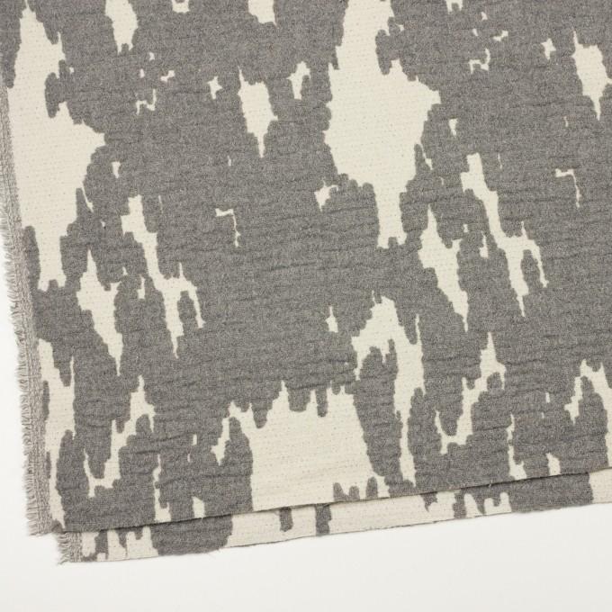 ウール&ナイロン×幾何学模様(キナリ&グレー)×二重織ジャガード_全2色 イメージ2