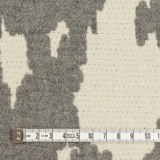 ウール&ナイロン×幾何学模様(キナリ&グレー)×二重織ジャガード_全2色 イメージ4