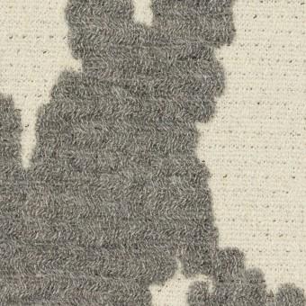 ウール&ナイロン×幾何学模様(キナリ&グレー)×二重織ジャガード_全2色