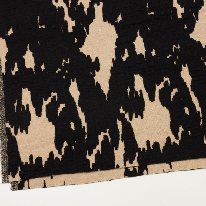 ウール&ナイロン×幾何学模様(ベージュ&ブラック)×二重織ジャガード_全2色 イメージ2