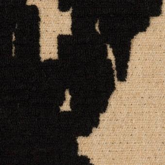 ウール&ナイロン×幾何学模様(ベージュ&ブラック)×二重織ジャガード_全2色