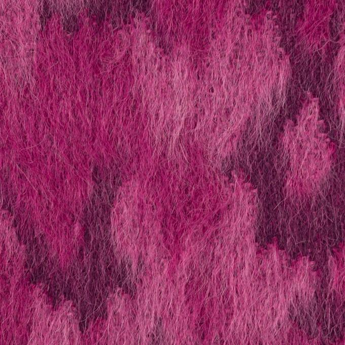 ウール&モヘア×幾何学模様(チェリーピンク)×シャギー_全2色 イメージ1