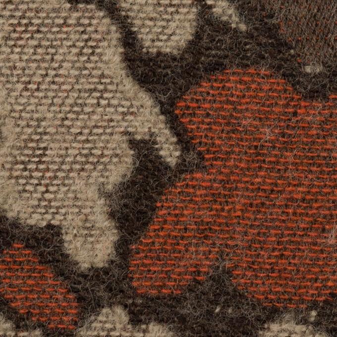 ウール&ポリエステル混×幾何学模様(オレンジ&モカブラウン)×ジャガード_全2色 イメージ1