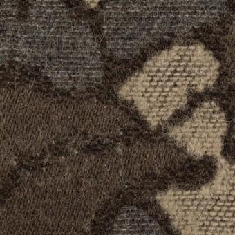 ウール&ポリエステル混×幾何学模様(グレー&モカブラウン)×ジャガード_全2色