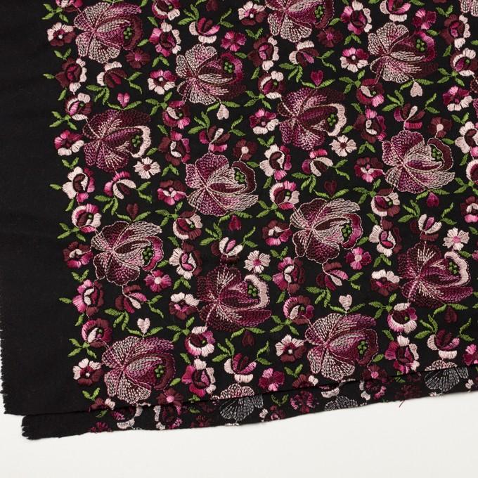 ウール×フラワー(ピンク&ブラック)×サージ刺繍_フランス製 イメージ2