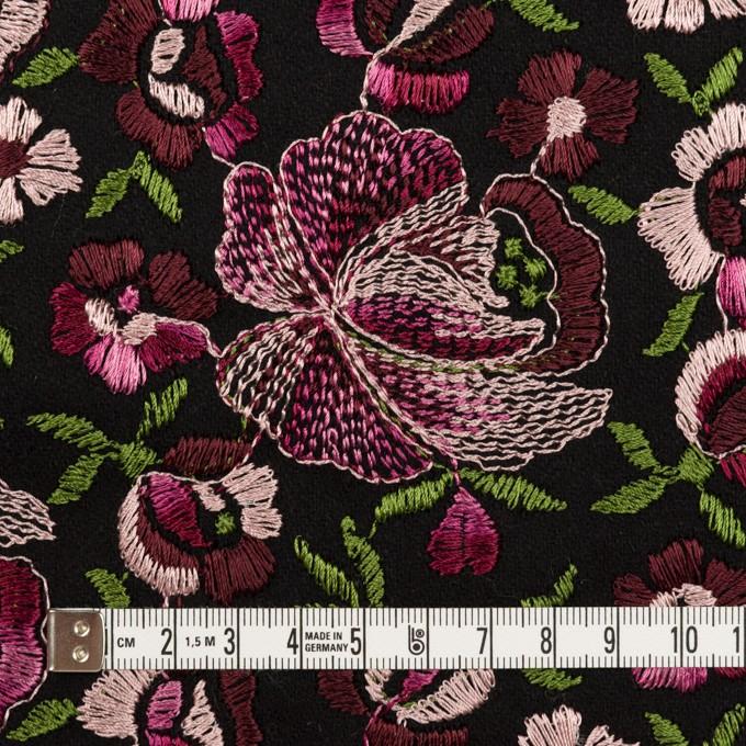 ウール×フラワー(ピンク&ブラック)×サージ刺繍_フランス製 イメージ4