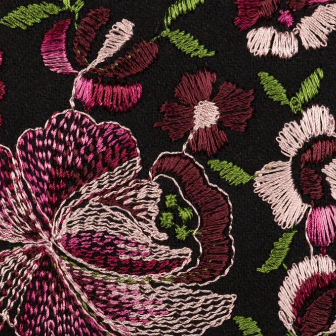 ウール×フラワー(ピンク&ブラック)×サージ刺繍_フランス製 イメージ1