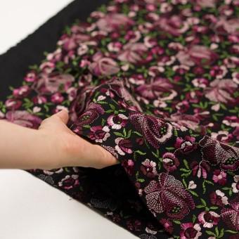 ウール×フラワー(ピンク&ブラック)×サージ刺繍_フランス製 サムネイル5