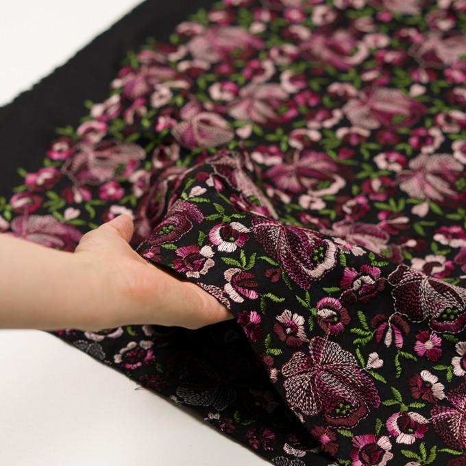 ウール×フラワー(ピンク&ブラック)×サージ刺繍_フランス製 イメージ5