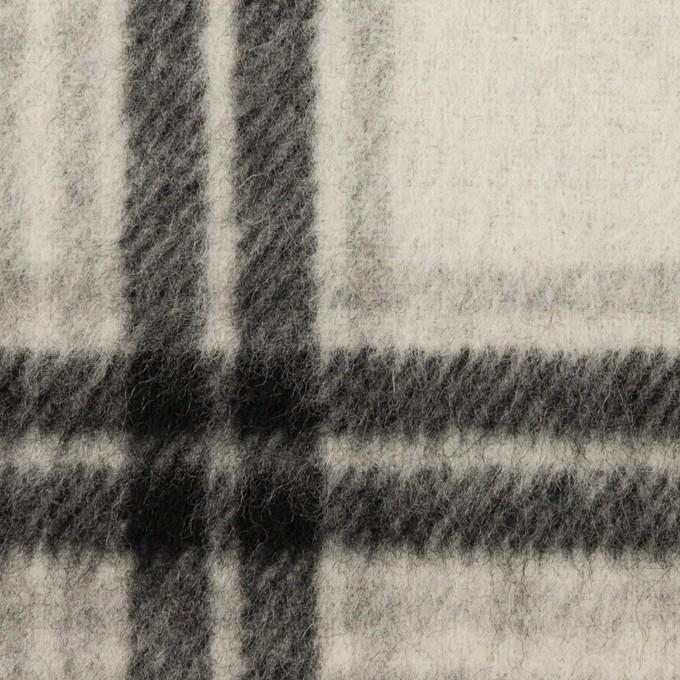 ウール&カシミア×チェック&無地(グレー&アイボリー)×Wフェイスビーバー イメージ1