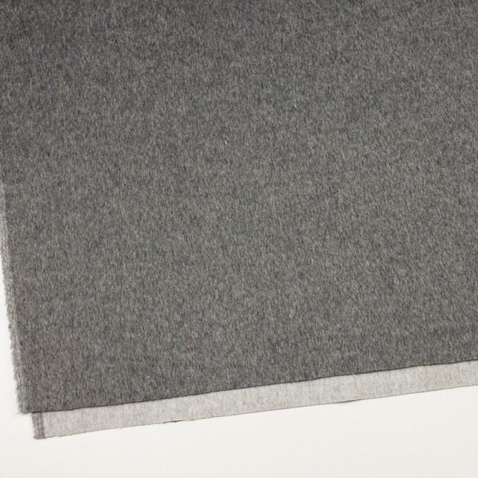ウール&ポリエステル混×無地(チャコールグレー&ライトグレー)×Wフェイスビーバー イメージ2