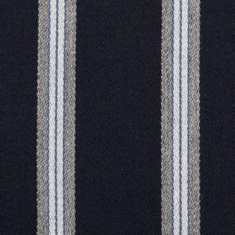 ウール&ポリエステル×ストライプ(ネイビー&グレー)×ベネシャン サムネイル1