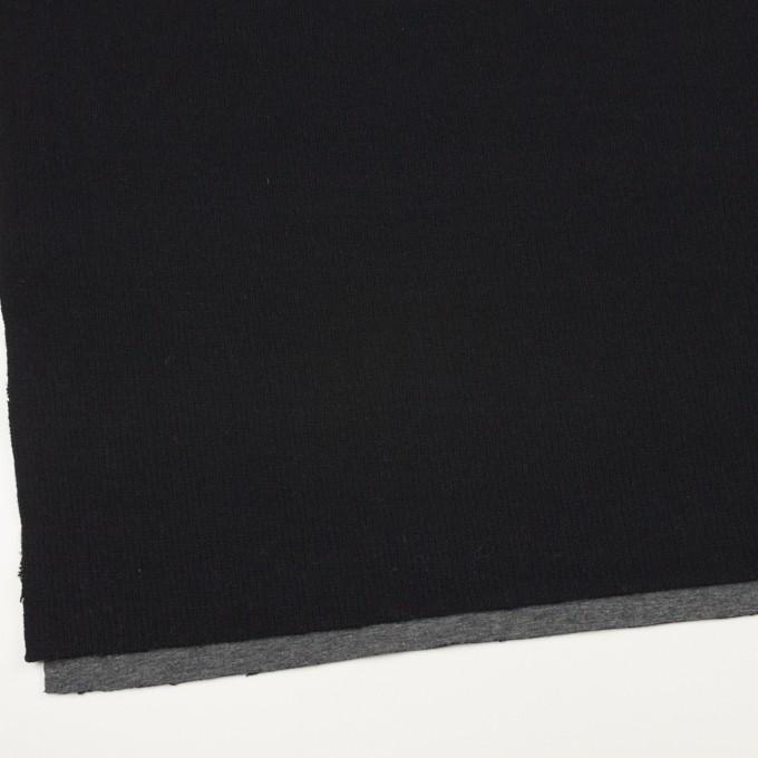 ウール&コットン×無地(ブラック&チャコールグレー)×Wニット_全2色 イメージ2