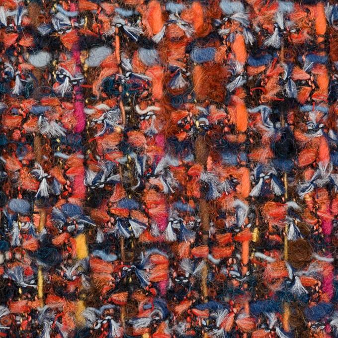 ポリエステル&ナイロン混×ミックス(レンガ&ブルー)×ファンシーツイード_フランス製 イメージ1