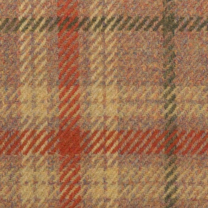ウール×チェック(レンガ、モスグリーン&テラコッタ)×サキソニー イメージ1