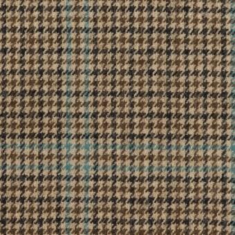 ウール×チェック(ブラウン&サックス)×千鳥格子 サムネイル1