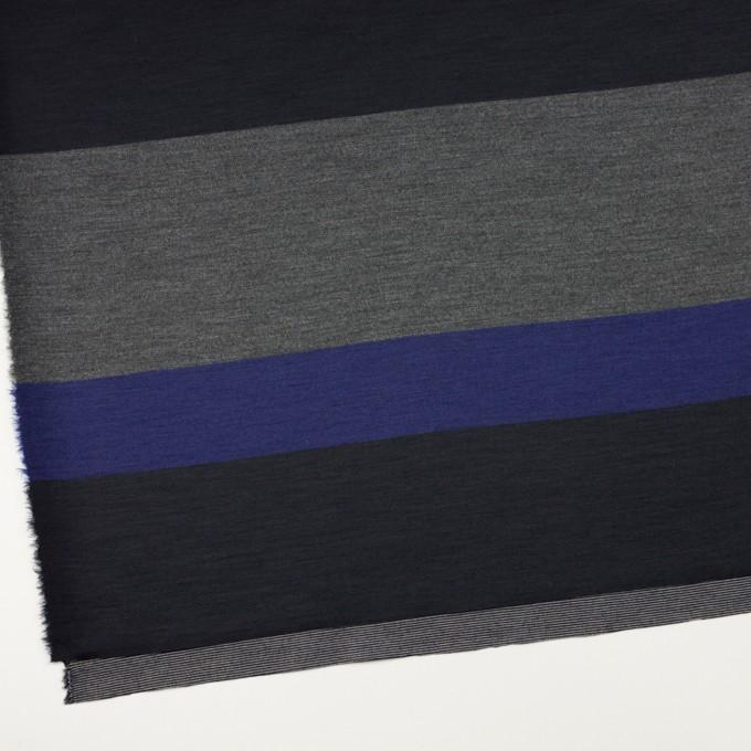 ウール×ボーダー(マリンブルー、グレー&チャコールブラック)×Wニット_パネル イメージ2