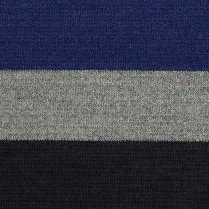 ウール×ボーダー(マリンブルー、グレー&チャコールブラック)×Wニット_パネル イメージ1