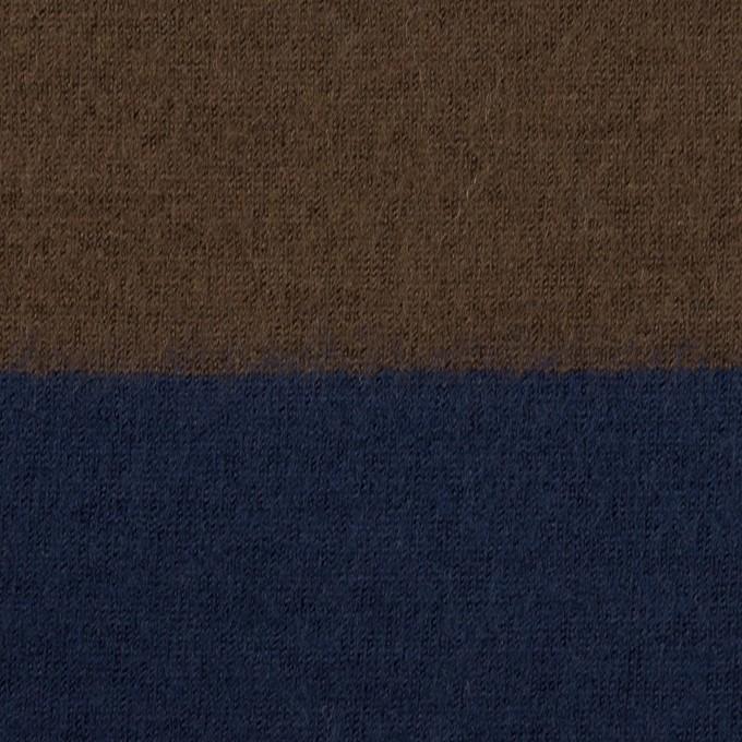 ウール×ボーダー(ブラウン&ネイビー)×天竺ニット イメージ1